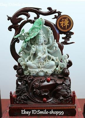$ CDN23651.10 • Buy 17 Top Value Natural Jadeite Emerald Jade 8 Arms Kwan-yin Guanyin Quan Yin Lotus