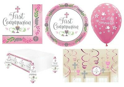 1st HOLY COMMUNION First PINK/GIRL Party Tableware Supplies Decorations {Amscan} • 3.95£
