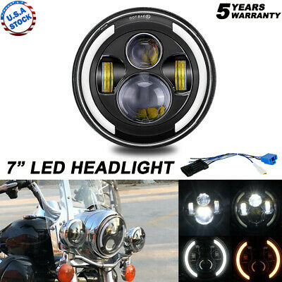 AU36.46 • Buy LED Headlight For Harley Motorcycle 7  Inch Round Motorcycle Driving Light DRL
