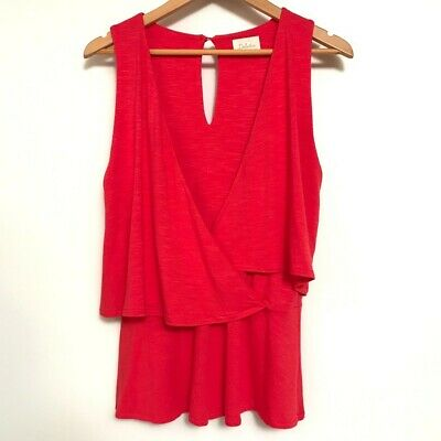 $ CDN18 • Buy Anthropologie Deletta  Tank Top Coral Red Women's Size Medium