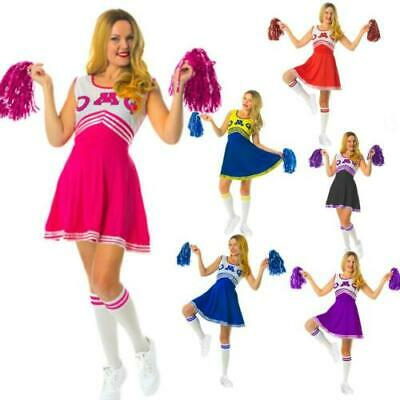 £8.99 • Buy Cheerleader Fancy Dress Costume Outfit With Pom Pom's High School Musical Girls