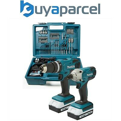 View Details Makita 18v Cordless Combi Hammer Drill & Impact Driver Twin Pack + 74 Piece Set • 179.99£