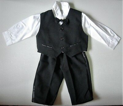 £15.99 • Buy BABY BOY SUIT Black Formal Wear Occasion OUTFIT Wedding Christening Clothing