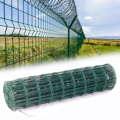 PVC Coated Steel Mesh Fencing Wire Galvanised Square Metal Fence Chicken Garden • 69.95£