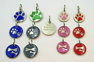 Pet ID Tags Personalised Engraved Name Address Identity Tag Disc For Dog Or Cat • 2.95£