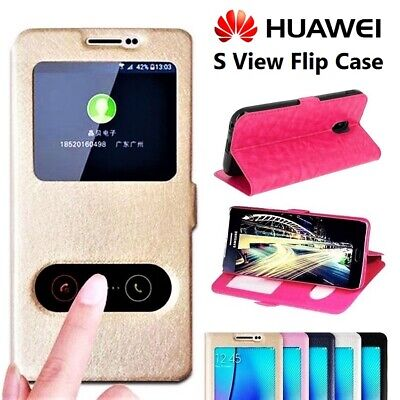 NEW S View Leather Magnetic Touch Book Case Cover For Huawei P10 P9 P8 Lite Y6 • 2.75£