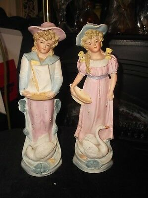 Pair Of Vintage Bisque Figurines Victorian Boy + Boat & Girl + Basket Swans 10  • 17.50£