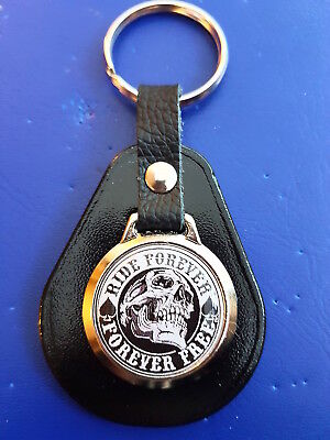Skull - Ride Forever Forever Free Biker Chop Top Quality Leather & Metal Keyring • 4.89£
