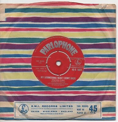 £5.99 • Buy CHARLIE DRAKE My Boomerang Won't Come Back*she's My Girl 1961 UK RED PARLOPHONE