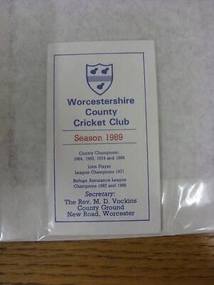 1989 Cricket: Worcestershire Seasons Fixtures Booklet, Small Pocket Size, Fold O • 2.99£