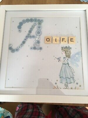 BUTTON ART FRAMES White Box Frame 25cmx25 Can Make Any Colour And personalised • 20£