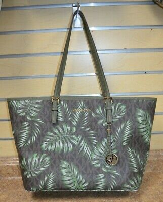 f533a802a4085a *Michael Kors Jet Set Signature Palm Tree Carryall Tote Pre-owned Free  Shipping •