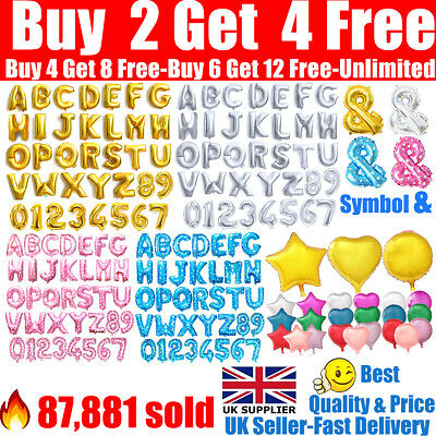 Alphabet A-Z Letter Number Foil Balloons Star Heart Balloon Name Party Wedding • 1.09£