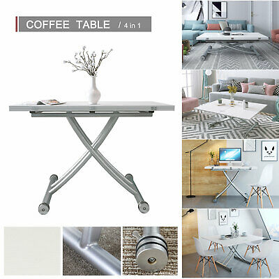£179.90 • Buy 5 In 1 Elevated Folding Table Rectangle Dining Table/Desk/Coffee Table In White