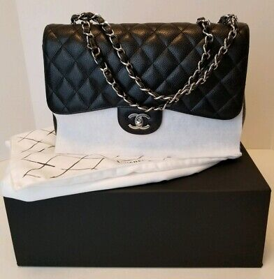 80c481548ef4f7 CHANEL ❤ Black Caviar Leather Jumbo Classic Single Flap Bag Silver Hardware  MINT • 5,200.00$