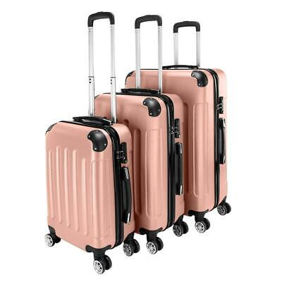 View Details New 3x Travel Spinner Luggage Set Bag ABS Trolley Carry On Suitcase W/TSA Pink • 77.99$