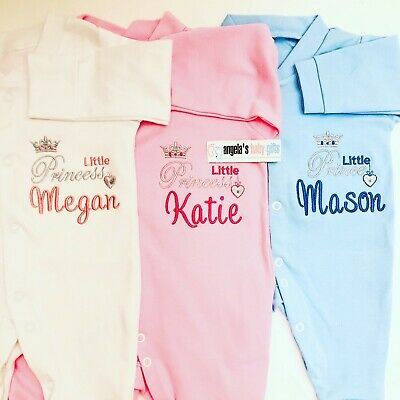 Personalised Prince / Princess Name Baby Grow Gift Newborn Christening Girl Boy • 11.99£