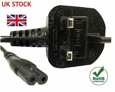 £3.99 • Buy 2M C7 Figure 8 Power Cord UK 3 Pin Plug To Power Lead Fig 8 Power Cable Mains
