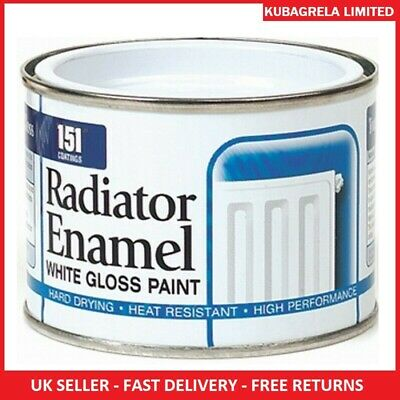 RADIATOR WHITE ENAMEL GLOSS PAINT - 180ml Radiator Pipes Tough Long Lasting Home • 6.95£