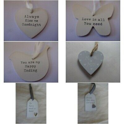 Vintage Style Shabby Chic Wedding Hanging Heart Decoration • 1.95£