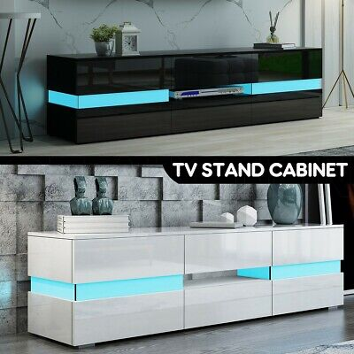 AU249.95 • Buy 177cm Modern TV Stand Cabinet Wood Entertainment Unit Storage White/Black W/LED