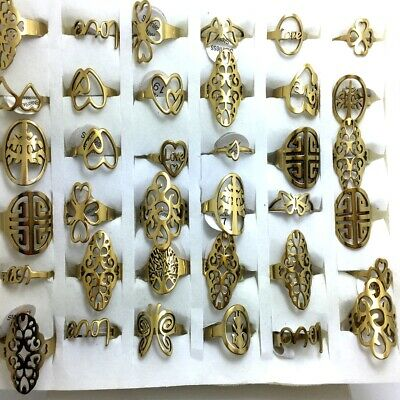 $ CDN23.06 • Buy Wholesale 50Pcs Assorted Gold Stainless Steel Rings Women Men Ring Jewelry Lots