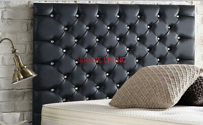 Headboard Black Faux Leather Chesterfield 36  - Small Double King Super King • 65.99£