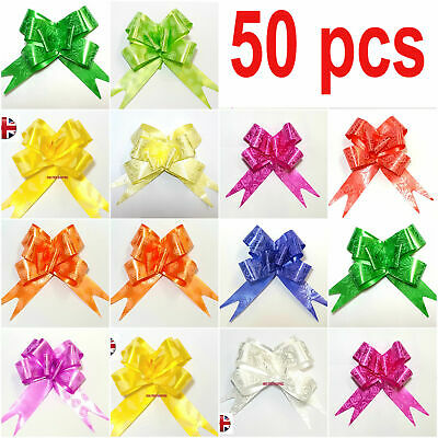 50Pcs 30mm Organza Ribbon Pull Bows Wedding Car Decor Gift Wrap Colourful NEW UK • 3.48£
