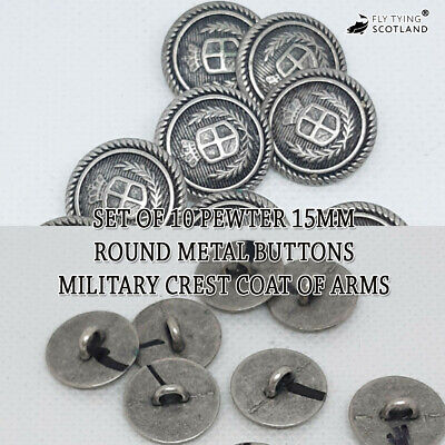 £4.99 • Buy Set Of 10 Pewter 15mm Round Metal Buttons Military Crest Coat Of Arms