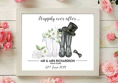 A4 PERSONALISED WEDDING/ENGAGEMENT GIFT - Wellies / Mr And Mrs Present UNFRAMED • 4.50£