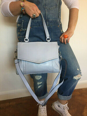M&s Autograph Pale Blue Desirable Aged Leather Across Body Shoulder Grab Bag  • 17.99£