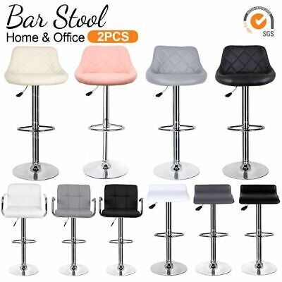 2×Bar Stools Leather Chairs Breakfast Chairs Swivel Gas Lift Kitchen Cushioned  • 79.90£