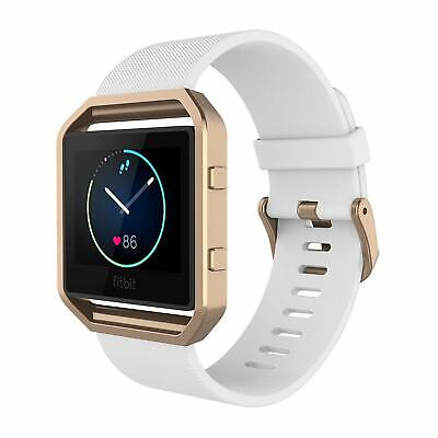 AU37.66 • Buy For Fitbit Blaze Band Silicone Replacement White Strap W/ Rose Gold Frame Watch.