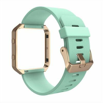 AU37.66 • Buy For Fitbit Blaze Band Silicone Replacement Green Strap W/ Rose Gold Frame Watch.