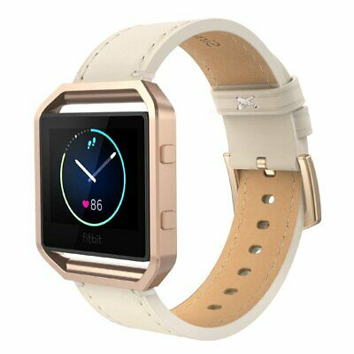 AU38.70 • Buy For Fitbit Blaze Band Frame Genuine Leather Replacement Wristband Strap Watch AU