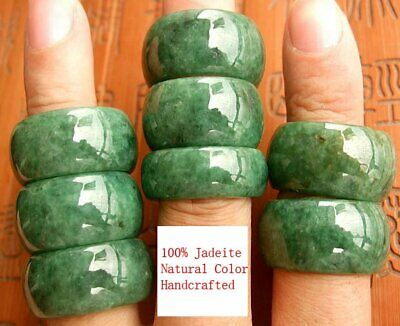 £20.59 • Buy Mens Chinese Green Jadeite Jade Ring Band Real Genuine Grade A Size 8 9 10 11 12