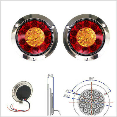 $34.31 • Buy 2 Pcs DC12V 16LED Car Trailer Backup Reverse Lamps Turn Signal Lights Red+Yellow