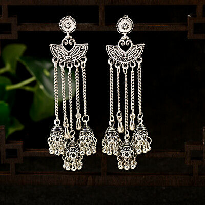AU3.19 • Buy Vintage Jhumka Ethnic Silver Long Tassel Bells Dangle Gypsy Indian Earrings