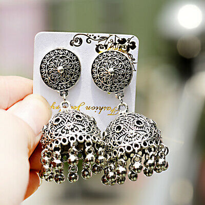 AU3.29 • Buy Vintage Jhumka Ethnic Bell Drop Silver Earrings Tribal Bollywood Indian Jewelry