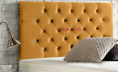 Headboard Chesterfield Plush Velvet 36  Tall Bed Head - Single Double King Size • 56.99£