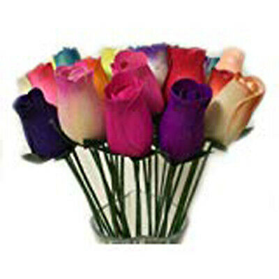 Everlasting Flower Bouquet,2 Dozen Wooden Roses Mixed Colours 24 Stems Bud Roses • 16.95£