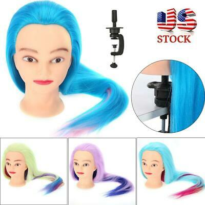 $12.45 • Buy Colorful Hairdressing Practice Head Mannequin Wig Styling Training Head+Clamp US