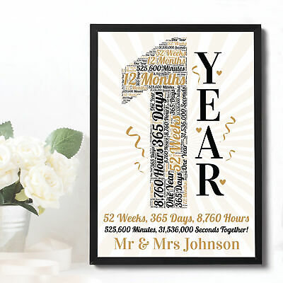 1st 10th 20th 25th 50th Anniversary Gift Personalised Wedding Anniversary Mr Mrs • 6.99£