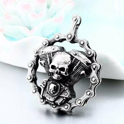 MENDEL Mens Skull Motorcycle Biker Engine Pendant Necklace Jewelry 25 Inch Chain • 9.21£