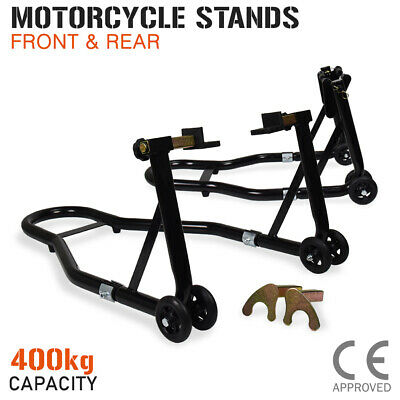 AU79 • Buy Motorcycle Stand FRONT & REAR Motorbike Lift Paddock Carrier Stands Fork Bike