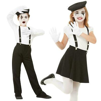 Kids Mime Artist Costume Boys French Street Circus Girls Fancy Dress Outfit Kit • 8.99£