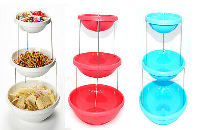 £8.85 • Buy 3 Tier Twist Fold Party Serving Plastic Stand With Bowls/Platter Stylish Rack