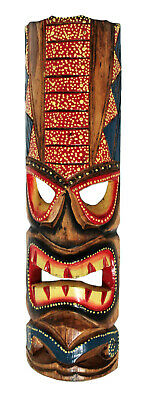 TIKI Mask Wooden Wall Plaque 50cm Hand Carved & Painted SURFER/ MAORI STYLE New • 18.97£