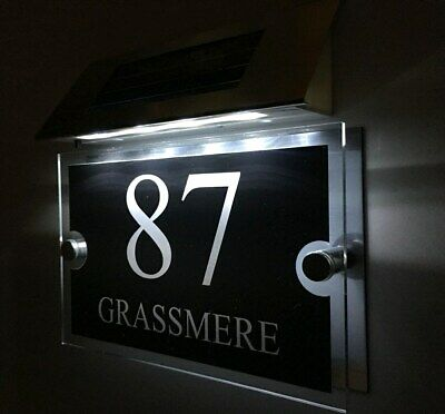 £29.99 • Buy MODERN SOLAR LIGHT House Signs Plaques Door Numbers 1 - 9999 Street Name LED
