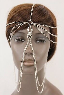 £30.99 • Buy Women Silver Metal Head Chain Spider Web Long Earrings Connested Gothic Jewelry